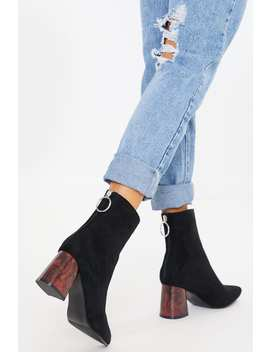 Black Faux Suede Brown Heel Ankle Boots by In The Style