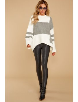 Good To Be Me Grey Colorblock Sweater by One And Only Collective