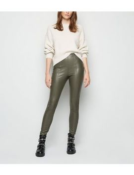 Khaki Coated Leather Look Leggings by New Look