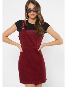 Burgundy Corduroy Buckle Strap Overall Dress by Rue21
