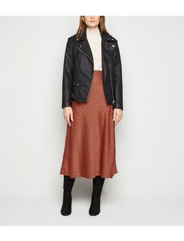 Rust Spot Satin Bias Cut Midi Skirt by New Look