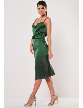 Green Satin Cowl Cami Slip Midi Dress by Missguided