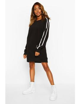 Crewe Neck Side Stripe Sweatshirt Dress by Boohoo