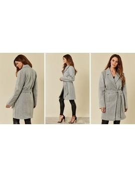 Light Grey Melange Wrap Over Tie Waist Coat by Vila