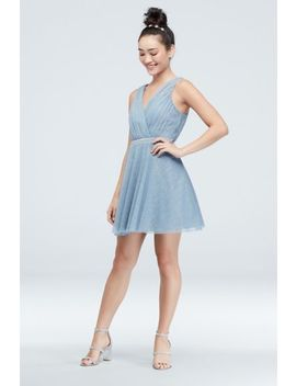 Glittery Faux Wrap Mini Dress With Crystal Belt by Teeze Me