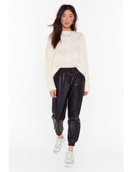 Jog My Mind Faux Leather Jogger Pants by Nasty Gal