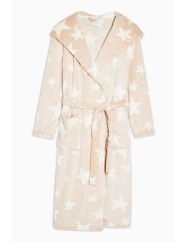 Nude Star Print Long Robe by Topshop