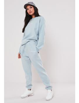Blue Co Ord Missguided Slogan Brushed Joggers by Missguided