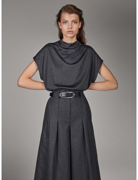 Limited Edition 100% Silk Draped T Shirt by Massimo Dutti