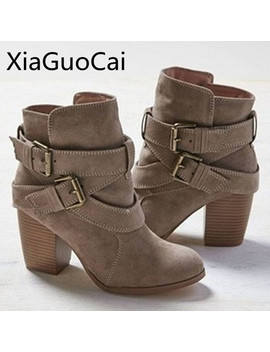Europe Style Vintage Women High Heels Ankle Boots Buckle Rubber Casual Ladies Shoes Martin Boots Female Chelsea Boots by Ali Express.Com