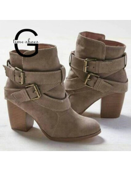 Gtime Autumn Winter Women Boots Casual Ladies Shoes Martin Boots Suede Leather Ankle Boots High Heeled Zipper Snow Boot Se579 by Ali Express.Com