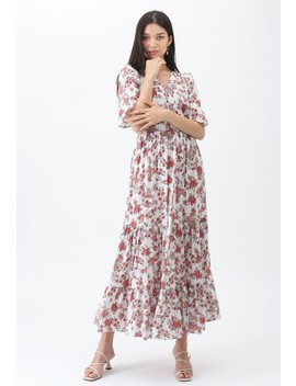 Floral Fairyland Wrap Chiffon Maxi Dress In White by Chicwish
