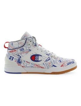 Printed Lace Up Leather Sneakers by Champion