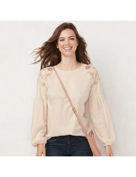 Women's Lc Lauren Conrad Balloon Sleeve Popover Top by Lc Lauren Conrad