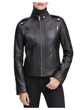 Marc New York By Andrew Marc Rego Leather Stand Collar Moto Jacket by Marc New York By Andrew Marc