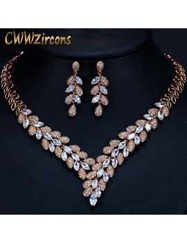 Cww Zircons Gorgeous Cubic Zirconia Stone Dubai Necklace Earrings Gold Jewelry Sets For Women Wedding Party Accessories T288 by Ali Express.Com