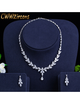 Cww Zircons Brilliant Cubic Zircon Party Costume Necklace Earrings Wedding Bridal Jewelry Sets Dress Accessories T326 by Ali Express.Com