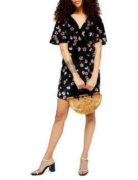 Petite Velvet Wrap Skater Dress by Topshop