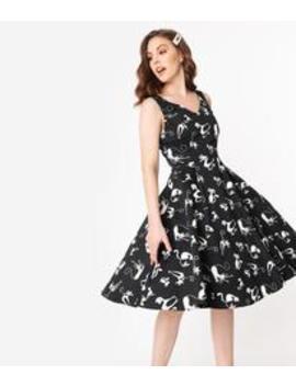 1950s Style Black & White Retro Cat Print Sleeveless Swing Dress by Unique Vintage