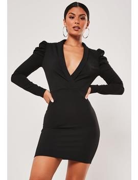 Black Wrap Front Puff Sleeve Mini Dress by Missguided