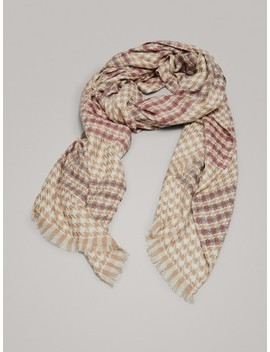 Houndstooth 100% Wool Scarf by Massimo Dutti