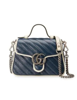 Mini Gg Marmont Leaher Top Handle Bag by Gucci