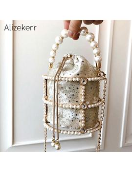 Hollow Out Pearl Bucket Evening Bag Women 2019 Luxury Designer Korean Handmade Alloy Metallic Clutch Bag Ladies Shoulder Bags by Ali Express.Com