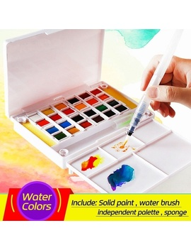 12/18/24 Pack Colors Solid Watercolor Paint Set Professional Box With Paintbrush Portable Watercolor Pigment Set Art Supplies by Wish