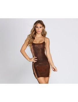 Golden Girl Heat Stone Mini Dress by Windsor