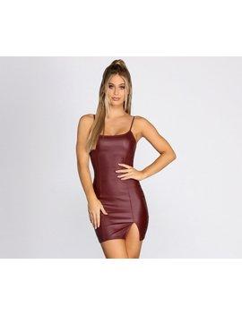 Coated Faux Leather Side Slit Mini Dress by Windsor