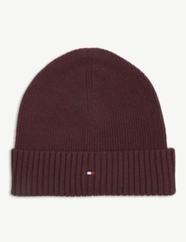 Cotton And Cashmere Flag Logo Beanie Hat by Tommy Hilfiger