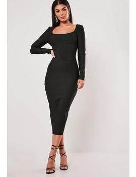 Petite Premium Black Long Sleeve Bandage Corset Midi Dress by Missguided