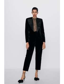 Ruched Velvet Pants by Zara