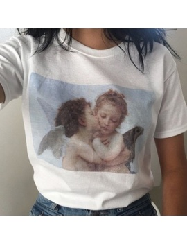 Angel Kiss Painting Women Fashion Cute T Shirt Summer Casual Short Sleeves Printed Tee by Wish