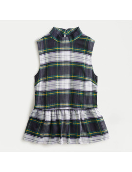 Sleeveless Peplum Top In Gilded Highland Tartan by J.Crew