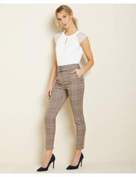 Belted High Waist Slim Leg Plaid Ankle Pant by Rw & Co
