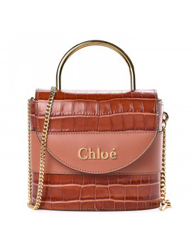 Chloe Calfskin Crocodile Embossed Small Aby Chestnut Brown by Chloe