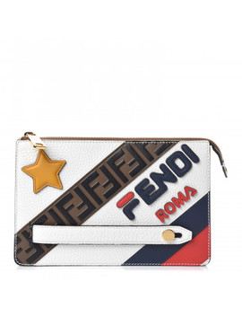 Fendi Calfskin Fila Logo Mania Clutch Ice White by Fendi