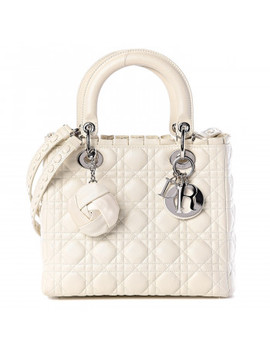 Christian Dior Lambskin Cannage Ruffle Trim Medium Lady Dior Off White by Christian Dior