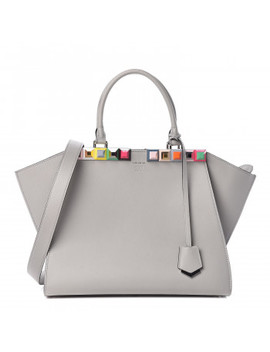 Fendi V Itello Studded Petite 3 Jours Satchel Powder Grey by Fendi