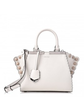Fendi Vitello Studded Mini 3 Jours Tote Ice White Cloude by Fendi