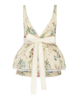 Bow Detailed Floral Jacquard Peplum Top by Brock Collection