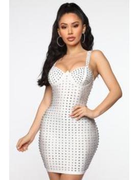 Wanting Attention Studded Mini Dress   White by Fashion Nova
