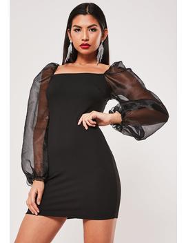 Black Organza Balloon Sleeve Mini Dress by Missguided