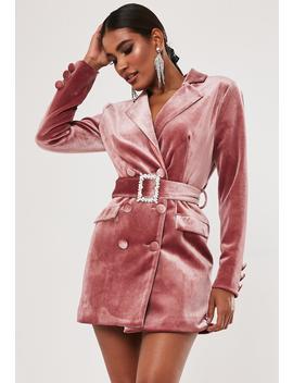 Rose Velvet Diamante Belt Blazer Dress by Missguided
