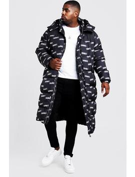 Big & Tall Man Printed Longline Puffer Coat by Boohoo