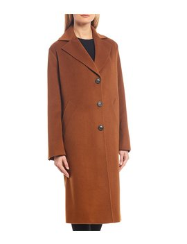 Cashmere Classic Notch Collar With Front Welt Pocket Long Coat by Katherine Kelly