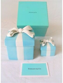 Tiffany & Co,Blue Bow Box,Porcelain,(5cm/10cm),2 Box Set,Sold In Japan,Beautiful by Ebay Seller