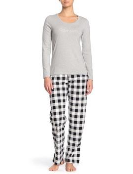 Logo Plaid Top, Pants & Shorts Pajama 3 Piece Set by Calvin Klein