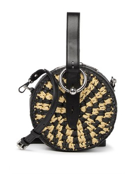 Kate Leather & Straw Circle Crossbody Bag by Rebecca Minkoff